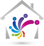 House and people, real estate and painter logo. House and people, colored, real estate and painter logo Stock Photo