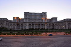 House of the people. Romania `house of the people` that formerly was called the Parliament, the beautiful huge building, the sun went down, in the light of Royalty Free Stock Photo