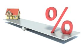 House and percent on scales Royalty Free Stock Images