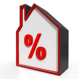 House And Percent Sign Displays Investment Or Discount Royalty Free Stock Images
