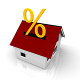 House with percent sign. On the roof Stock Image