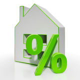 House And Percent Sign Shows Investment Or Discount Royalty Free Stock Photography