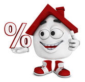 House with a percentage sign. Cartoon illustration of a smiling house with a thumb up holding a percentage sign, white background Stock Images