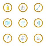 House personal hygiene icons set, cartoon style Stock Photos