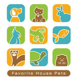 House Pet Icons. Icons of various cute house pets Royalty Free Stock Photography
