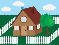 House with picket fence Royalty Free Stock Image