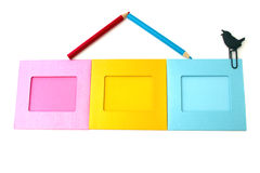House of picture frames and pencils Stock Photography