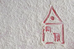 House pictured on the flour background Stock Photo