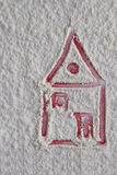 House pictured on the flour background Stock Photography