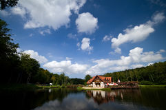 House by picturesque lake Royalty Free Stock Images