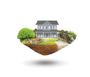 House on a piece of earth. With garden Stock Photos