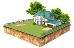 House on piece of earth with garden and trees.  Royalty Free Stock Photography
