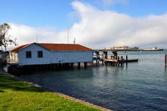 House on the pier with Alcatraz on the background Royalty Free Stock Image