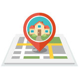 House in pin. Vector illustration of map with pin and house in it. Flat design style.  on white background. Eps 10 Stock Photo