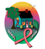House with pink ribbons Stock Images
