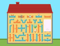 House with pipe set for pipeline engineering home Stock Photography