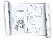 House plan. 3d illustration of house plan paper scroll over white background Stock Photography