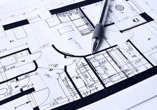 House plan. Blue plan of the house and pen Royalty Free Stock Images