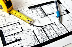 House plan. Blue plan of the house and pen Royalty Free Stock Photography