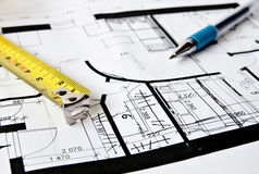 House plan. Pen and measuring tape Royalty Free Stock Images