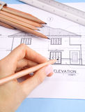 House plan. This is a picture of a set of blueprints (architectural drawings) the main floor of a house Stock Photo