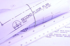 House plan. This is a picture of a set of blueprints (architectural drawings) the main floor of a house Stock Image