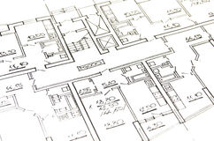 House plan. House architecture plan  on paper Stock Photography