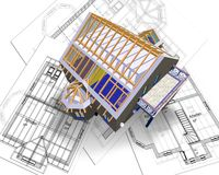 House and plan Stock Photo