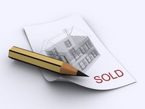 House plan. A pencil and a house scheme on paper - 3d render Stock Photos
