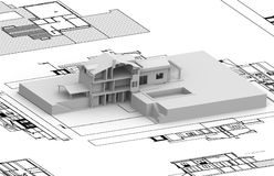 House plan with 3d model Royalty Free Stock Image