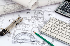 A house plan. An architect's blueprint for the construction of a new residential house. symbolic photo for funding and planning of a new house Royalty Free Stock Photo