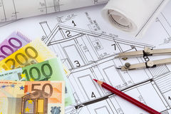 A house plan. An architect's blueprint for the construction of a new residential house. symbolic photo for funding and planning of a new home Stock Image