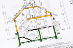 A house plan. An architect's blueprint for the construction of a new house. symbolic photo for funding and planning of a new home Royalty Free Stock Photos