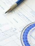 House plan blueprint - Architect design Stock Image