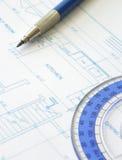 House plan blueprint - Architect design. With floor plan stock image