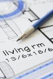 House plan blueprint - Architect design Stock Photo