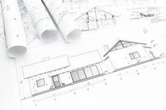 House plan blueprint Stock Photos
