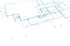 House plan blueprint, technical drawing, part of architectural p. Architectural project, technical drawing, construction plan background Royalty Free Stock Photography