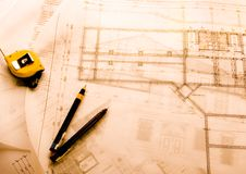 House plan blueprints Royalty Free Stock Image