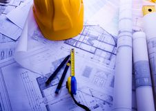 House plan blueprints Stock Photography
