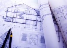 House plan blueprints Stock Photography