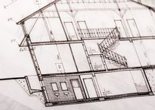 House plan blueprints Royalty Free Stock Photos