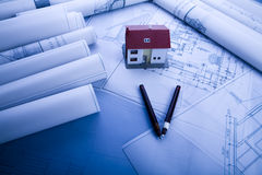 House plan blueprints Royalty Free Stock Photography