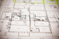 House plan blueprints close up. Your new home is getting ready stock photo