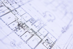 House plan blueprints close up. Your new home is getting ready royalty free stock image