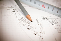 House plan blueprints close up Stock Photos