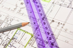 House plan blueprints close up. Your new home is getting ready stock photography