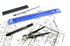 House plan blueprints with drawing tools Stock Images