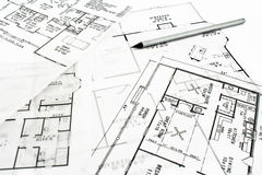 House plan blueprints with pencil Stock Photos