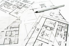 House plan blueprints with pencil stock photos